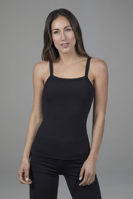 ribbed yoga tank in black