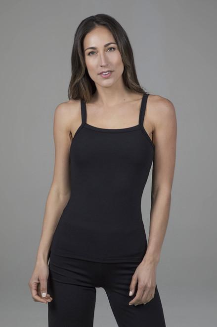 ribbed yoga tank in black