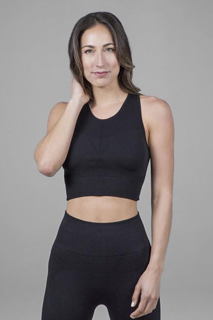 Seamless activewear tank top in black