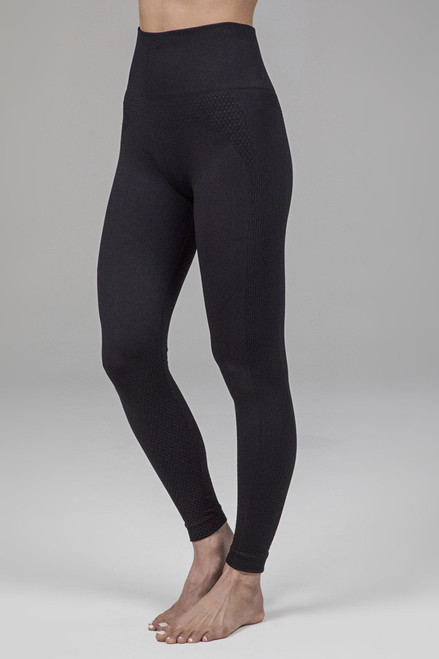 Seamless ribbed yoga tights in black