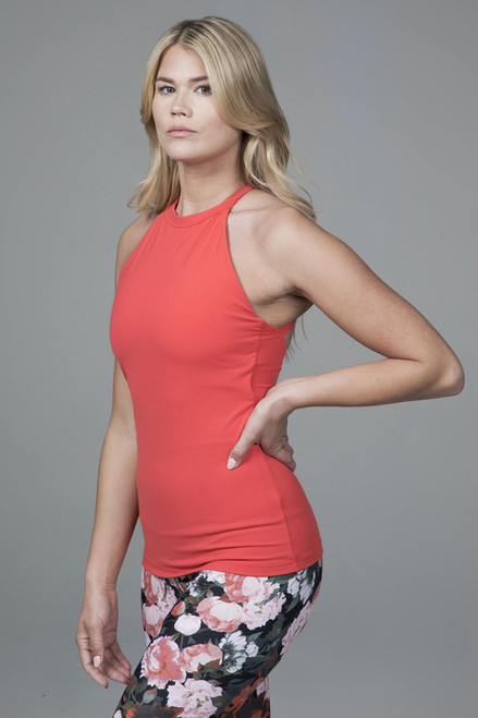 Grace Yoga Halter Top in Coral