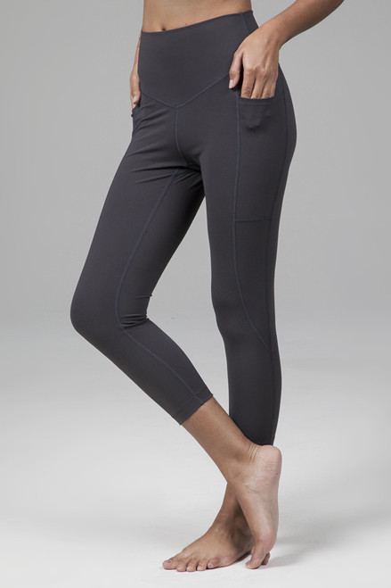 High Waist Sculpting Capri Yoga Leggings in Phantom Grey