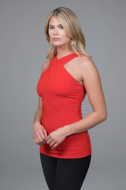 criss-cross luxe halter in red