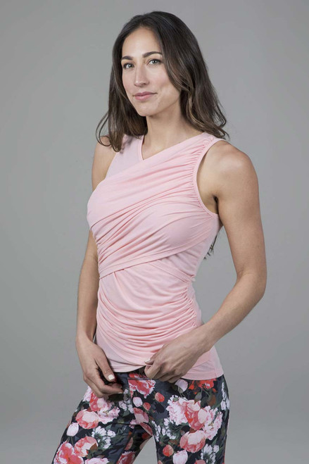 Goddess Ruched Sleeveless Top in Blossom