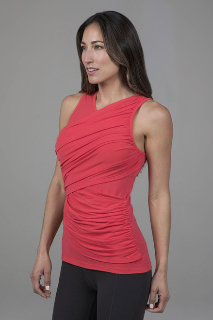 Goddess Ruched Sleeveless Top in Coral