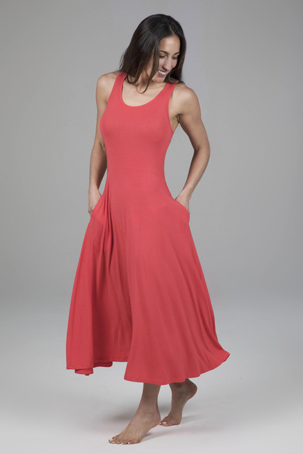Midi Fit & Flare Yoga Dress with Pockets in Coral Pink