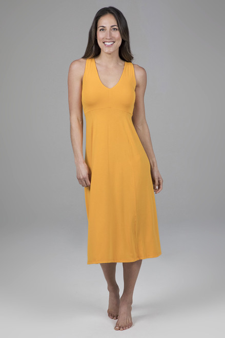 V-Neck Midi Dress in Marigold yellow
