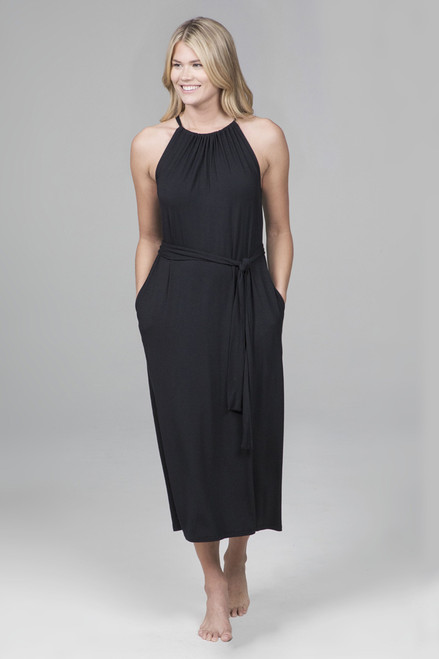 Gathered Halter Dress in Black with Pockets