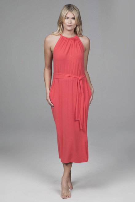 Gathered Halter Midi Dress in Coral
