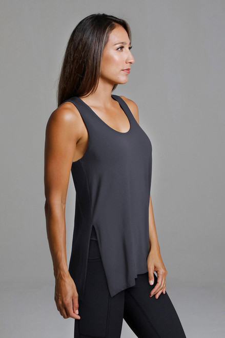 Split Side Yoga Tank in Grey