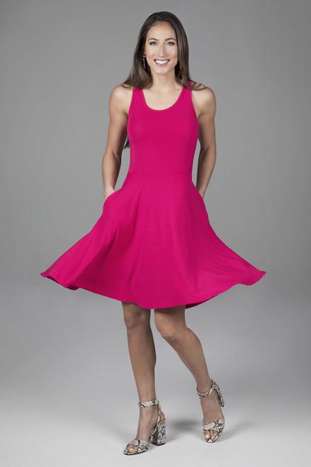 Fit & Flare Dress in Raspberry Front Twirl