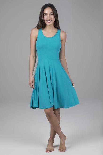 Fit & Flare Yoga Dress Tile Blue Front