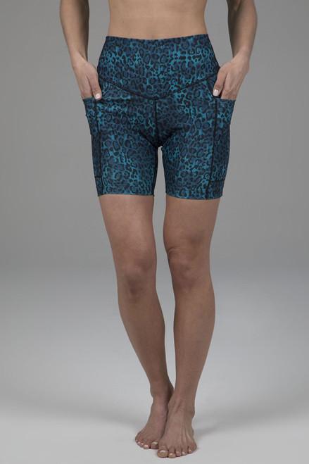 Duchess Biker Short Blue Leopard
