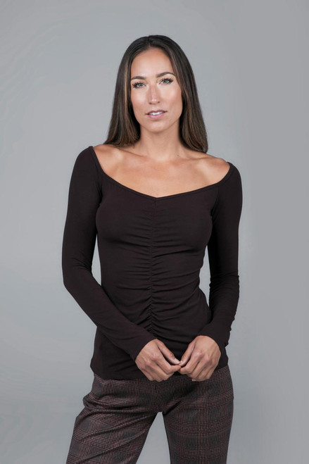 Ruched V-Neck Long Sleeve Yoga Top Chocolate