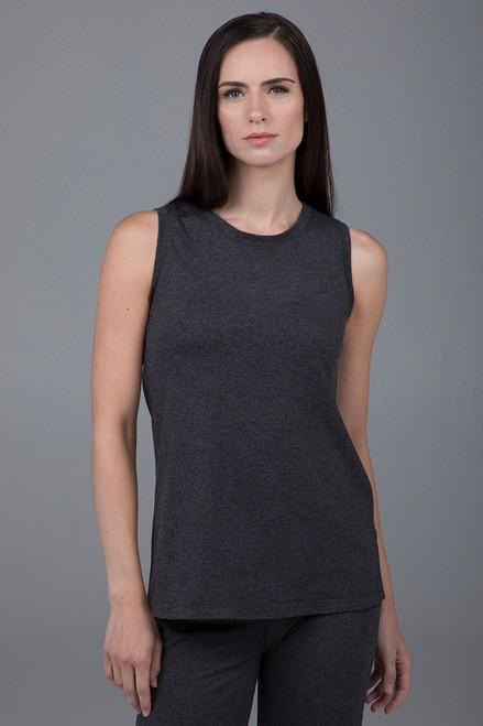 Long Sleeveless Tunic Charcoal Heather