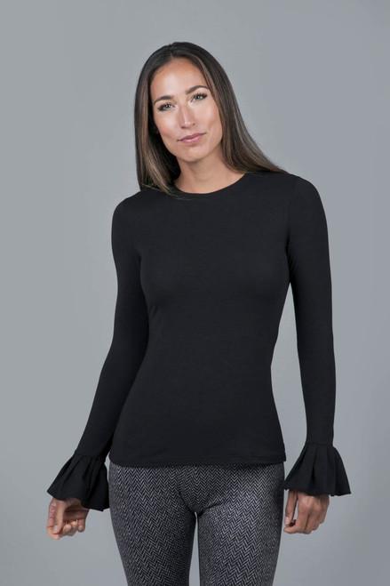 Pleated Cuff Yoga Top Black