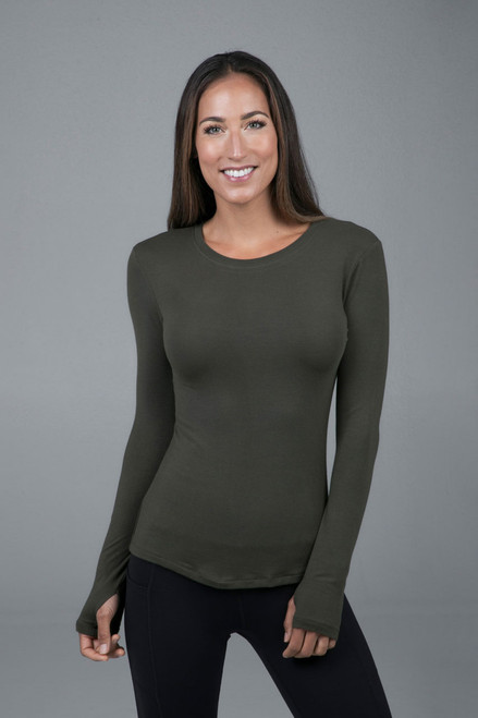 Crew Neck Long Sleeve Tee Forest Night Front view