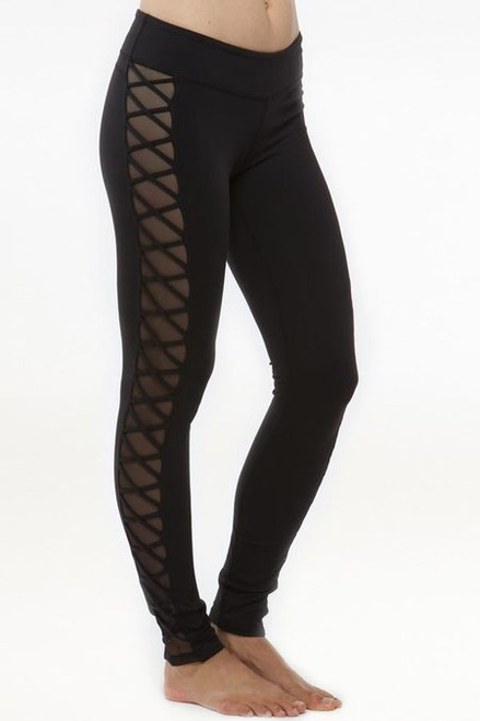 Black Romance Lace-Up Yoga Mesh Leggings