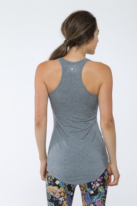 Heather Grey Long Racerback Yoga Tank Tops