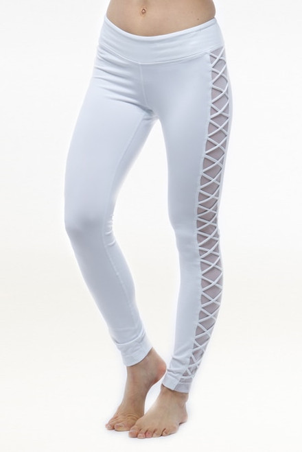 White Romance Yoga Mesh Leggings
