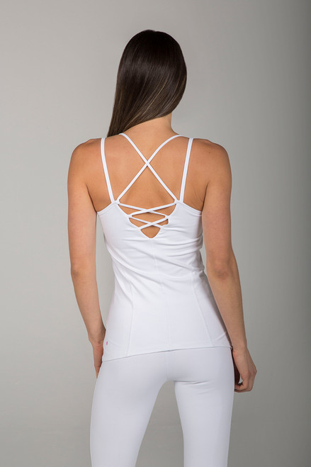White Criss-Cross Back Strappy Back Cami back view