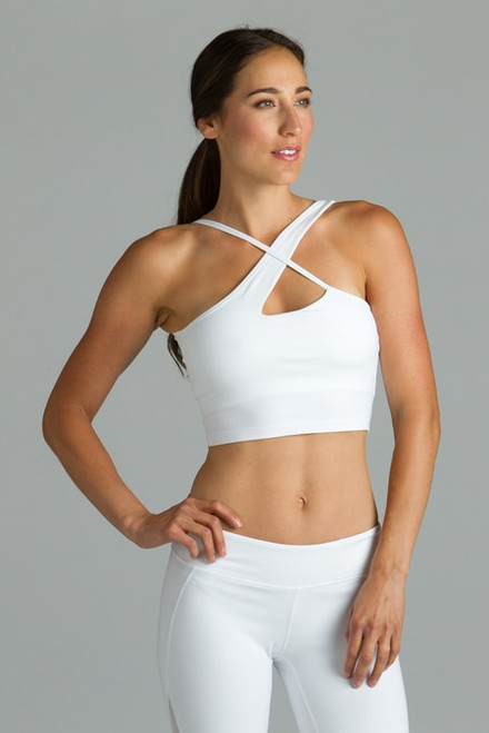 White warrior victoria yoga halter crop tops bra