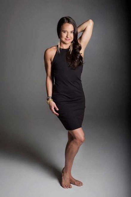 KiraGrace Yoga Halter Dress in Black lifestyle