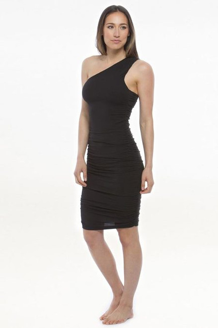 Model wearing KiraGrace One Shoulder Dress in Black with ruching side detail