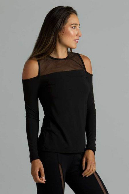 Cold Shoulder Yoga Top Black Front