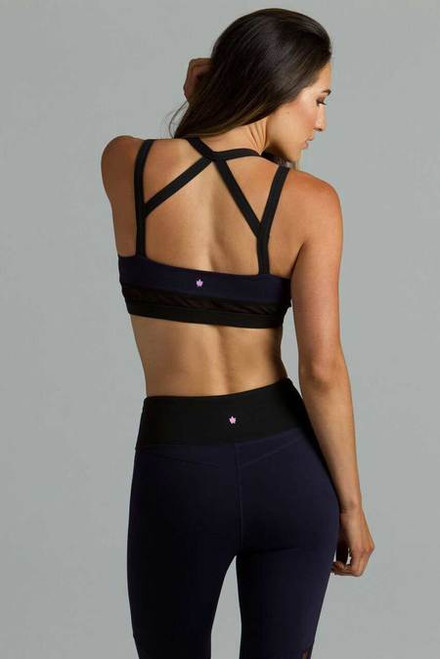 Navy Strut Yoga Bra Back