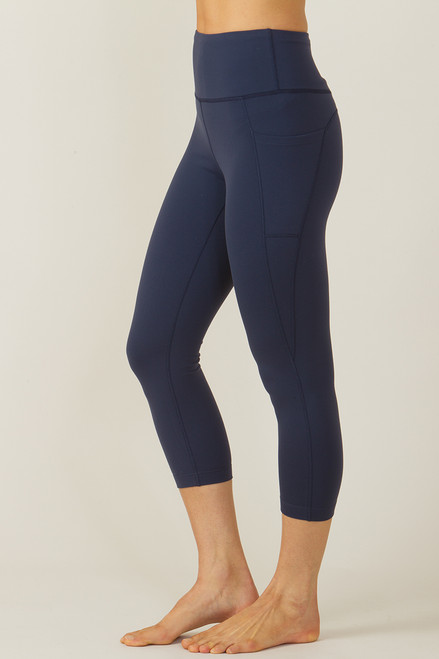 Ultra High Waist Pocket Yoga Capri (Navy)