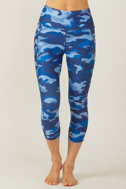 Ultra High Waist Pocket Yoga Capri (Blue Camo)