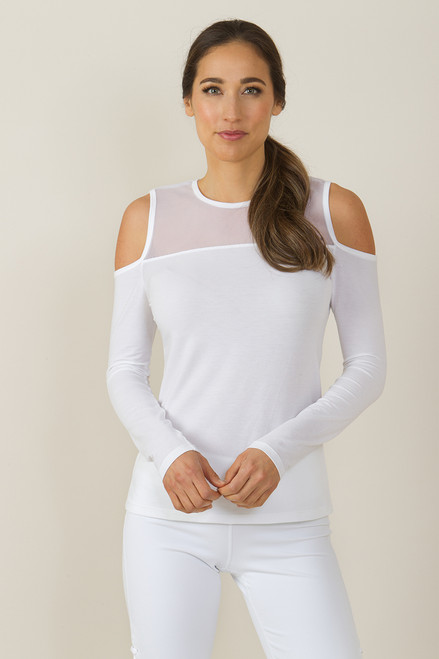 KiraGrace White Romance Cold Shoulder Cut-Out Yoga Shirt