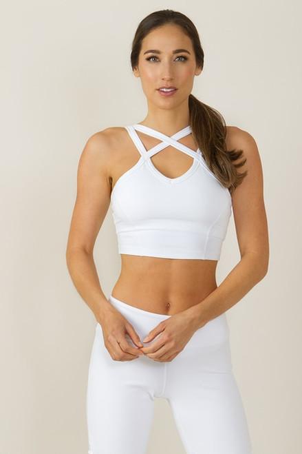 Caged Halter Yoga Crop Top White