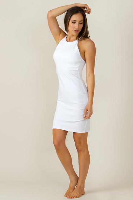 Grace Yoga Halter Dress White