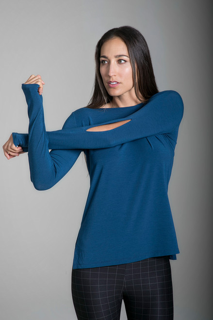 Slit Sleeve Boat Neck Yoga Top in Blue Abyss