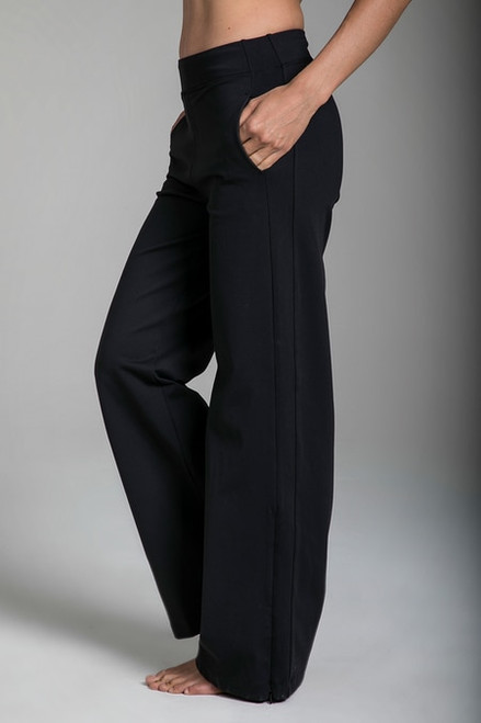 Pocketed Black Wide Leg Flare Sweatpants side view