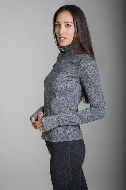 Grace Half Zip Pullover in Grey Heather