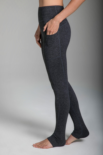 Heather Grey Yoga Leggings with Side Pockets side view