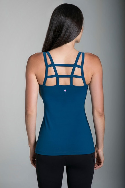 Warrior Caged Yoga Tank in Blue Abyss