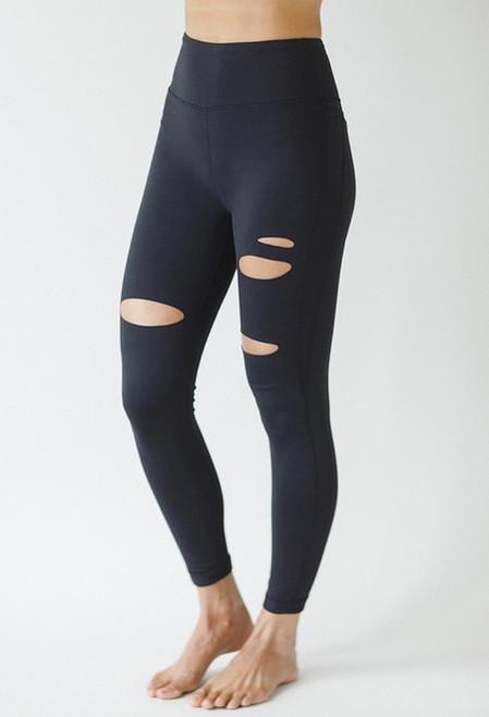 Slashed 7/8 Black Yoga Leggings