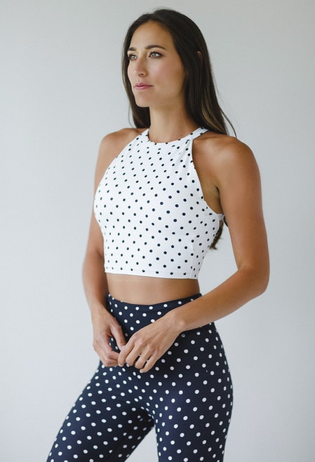 Grace Yoga Halter Crop Top in White Dot