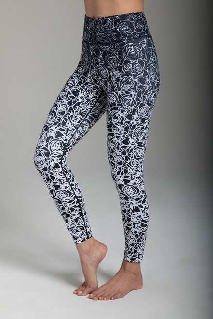 Grace Ultra High Waist 7/8 Yoga Legging (Black Etched Floral)