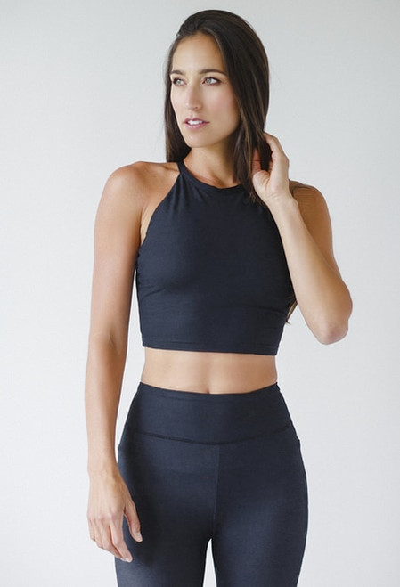 Grace Yoga Halter Crop Top in Black