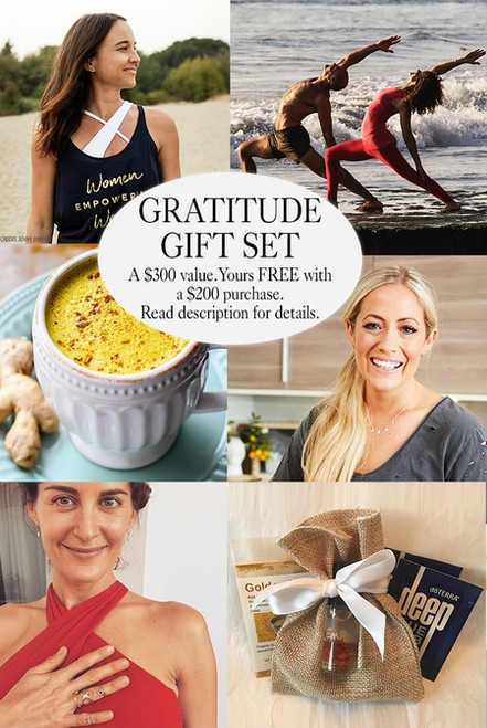 Created by our Global Ambassadors, the exclusive Gift Set includes 8 yoga experiences + a beautiful KiraGrace goodie box packed with essentials