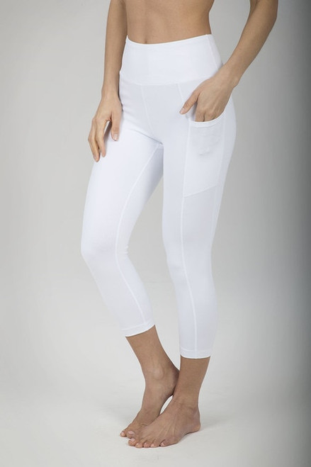 Ultra High Waist Pocket Yoga Capri (White)
