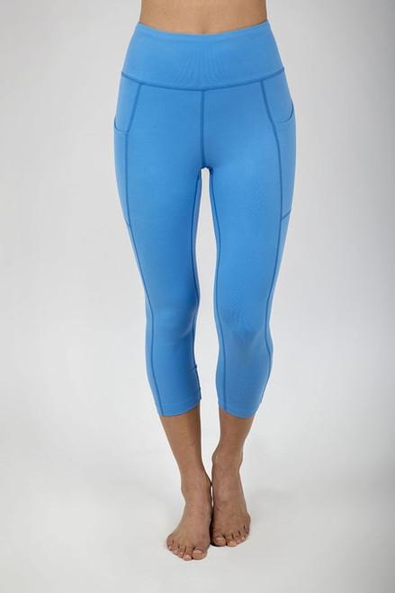 Ultra High Waist Pocket Yoga Capri (Riviera Blue)