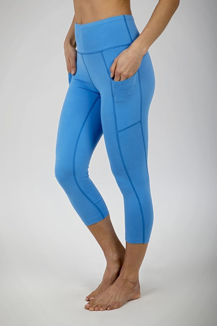 Ultra High Waist Pocket Yoga Capri (Riviera Blue)