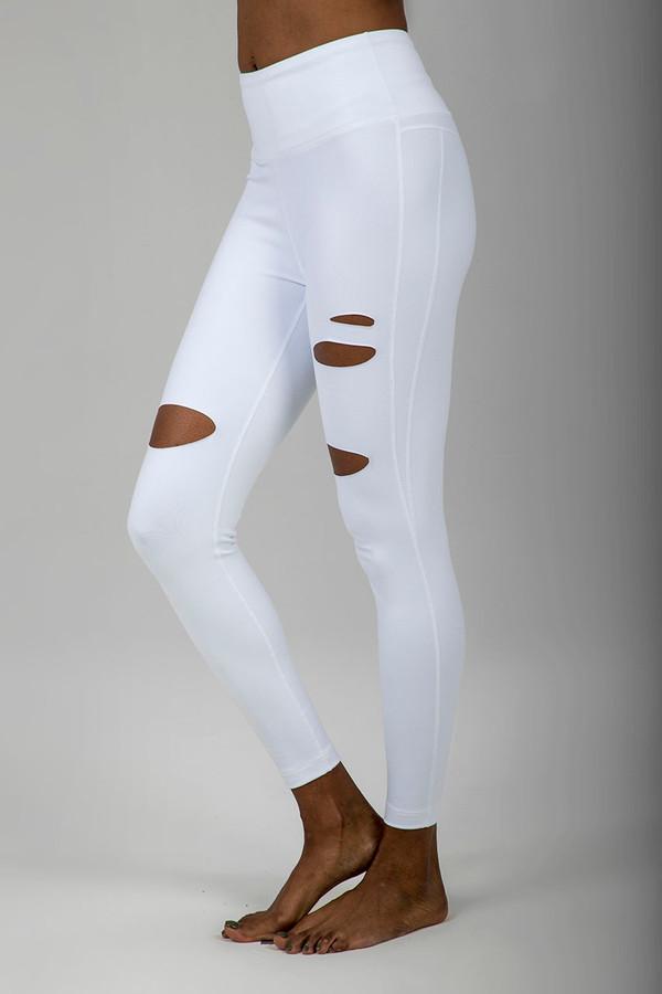 Slashed 7/8 Yoga Legging (White)