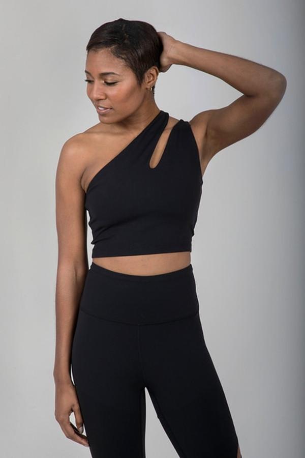 Seva One Shoulder Yoga Crop Top (Black)